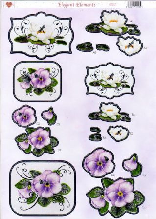 Pansy & Water Lily Elegant Elements Silver Foiled Die Cut 3d Decoupage Sheet From Craft UK Ltd